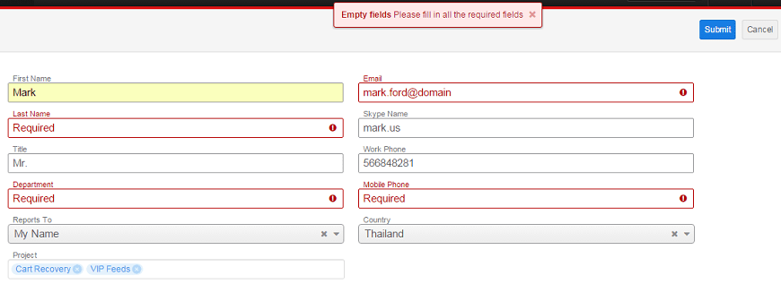 The result of SugarCRM custom form creation