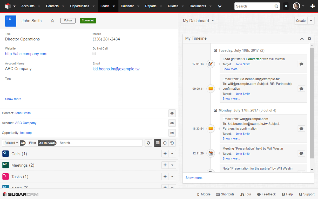 TimeLine Viewer  SugarCRM Plugin for Tracking Key Business